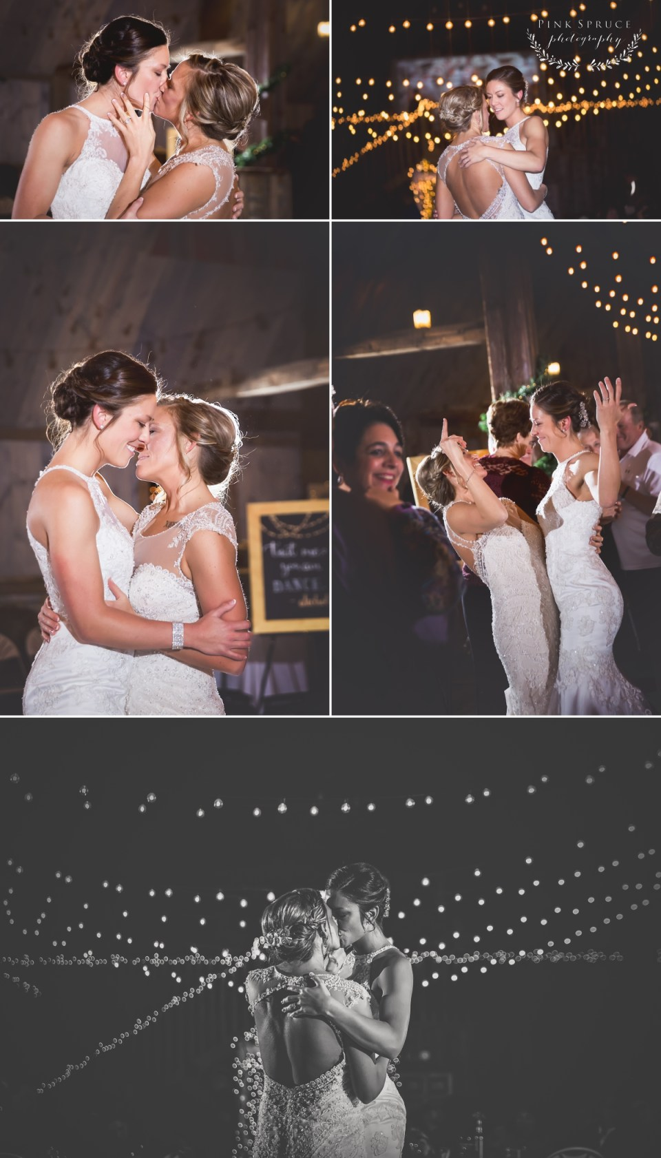 Rustic Winter Wedding at Pedretti's Party Barn, Viroqua, WI | Photography by: Pink Spruce Photography www.pinksprucephotography.com | Lesbian Wedding, Same Sex Wedding, First Dance, Wisconsin Wedding