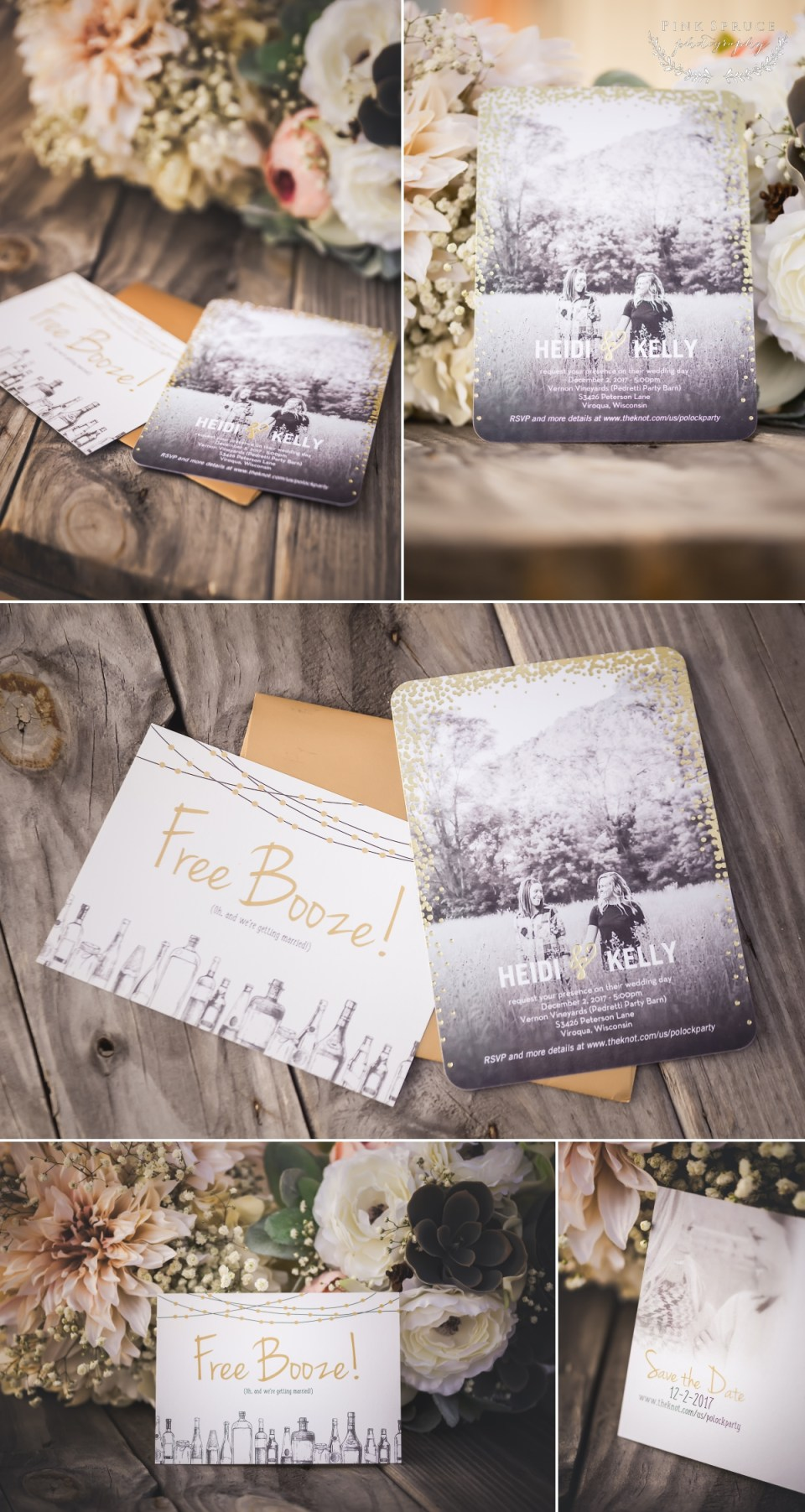 Invitations and Save the Dates for Rustic Winter Wedding at Pedretti's Party Barn, Viroqua, WI | Photography by: Pink Spruce Photography www.pinksprucephotography.com | Lesbian Wedding, Same Sex Wedding, Wisconsin Wedding