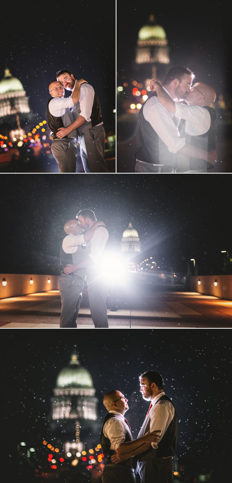 Evening Wedding Photos in front of the Capital at The Monona Terrace in Madison, WI | Pink Spruce Photography | www.pinksprucephotography.com