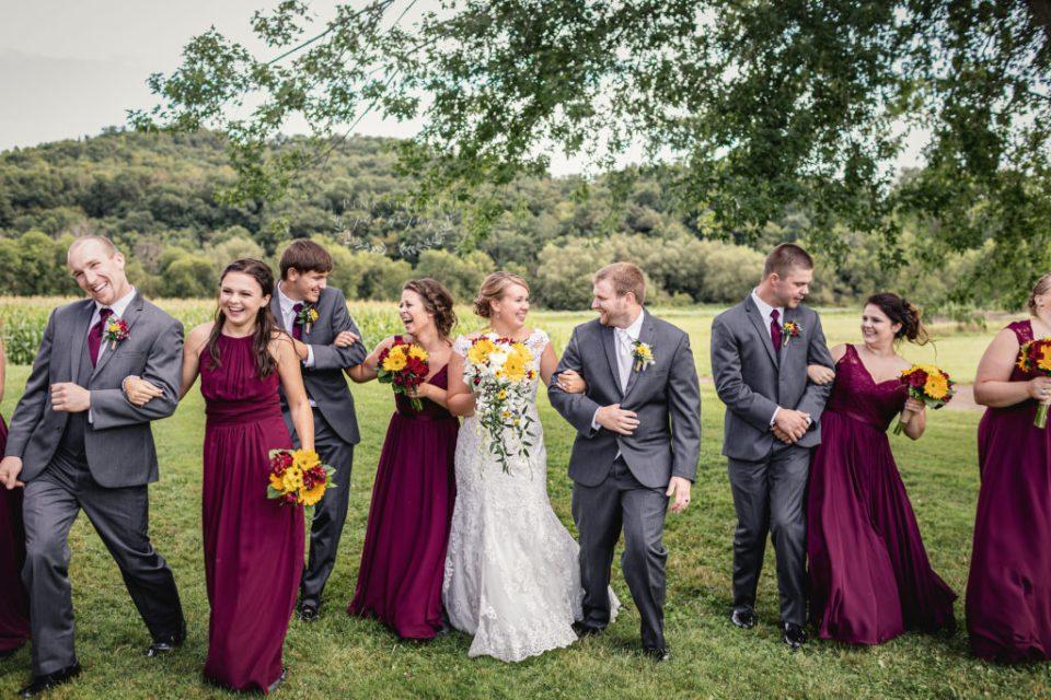 Burgundy and Navy Rustic Wedding with Sunflowers · Tamarack Lutheran Church Wedding · Arcadia, Wisconsin