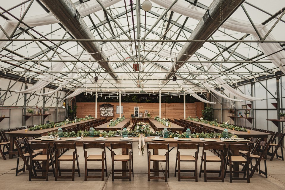 Reception Tables and Decor.  The Greenhouse at Bittersweet Flower Market Wedding   Pink Spruce Photography   www.pinksprucephotography.com