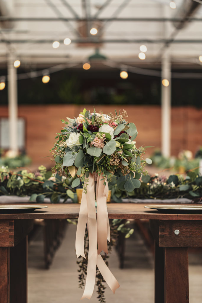 Eucalyptus Wedding Bouquet.  The Greenhouse at Bittersweet Flower Market Wedding | Pink Spruce Photography | www.pinksprucephotography.com