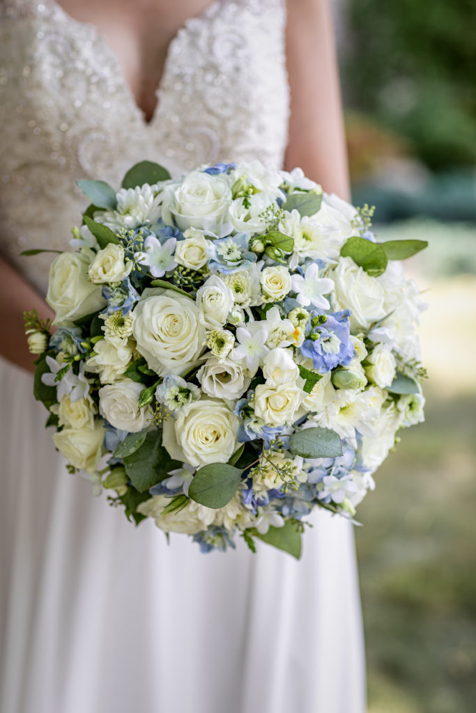 Light Blue Wedding Bouquet | La Crosse Wisconsin Wedding | Kara + David | Pink Spruce Photography, Wedding Photographer