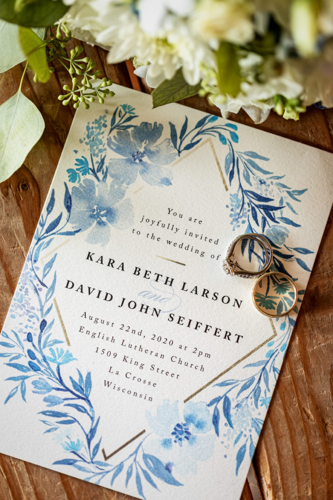 Light Blue and Gold Minted Wedding Invitation | Wedding at Cedar Creek Country Club | Kara + David | Onalaska Wisconsin Wedding Photographer