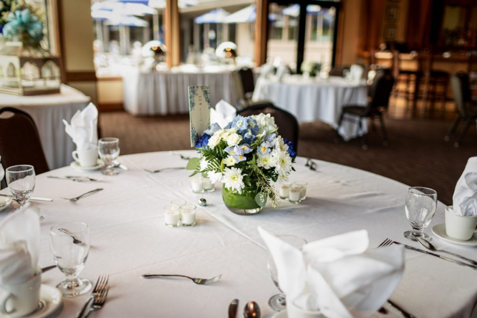 Monet Floral Centerpiece | Wedding at Cedar Creek Country Club | Kara + David | Onalaska Wisconsin Wedding Photographer