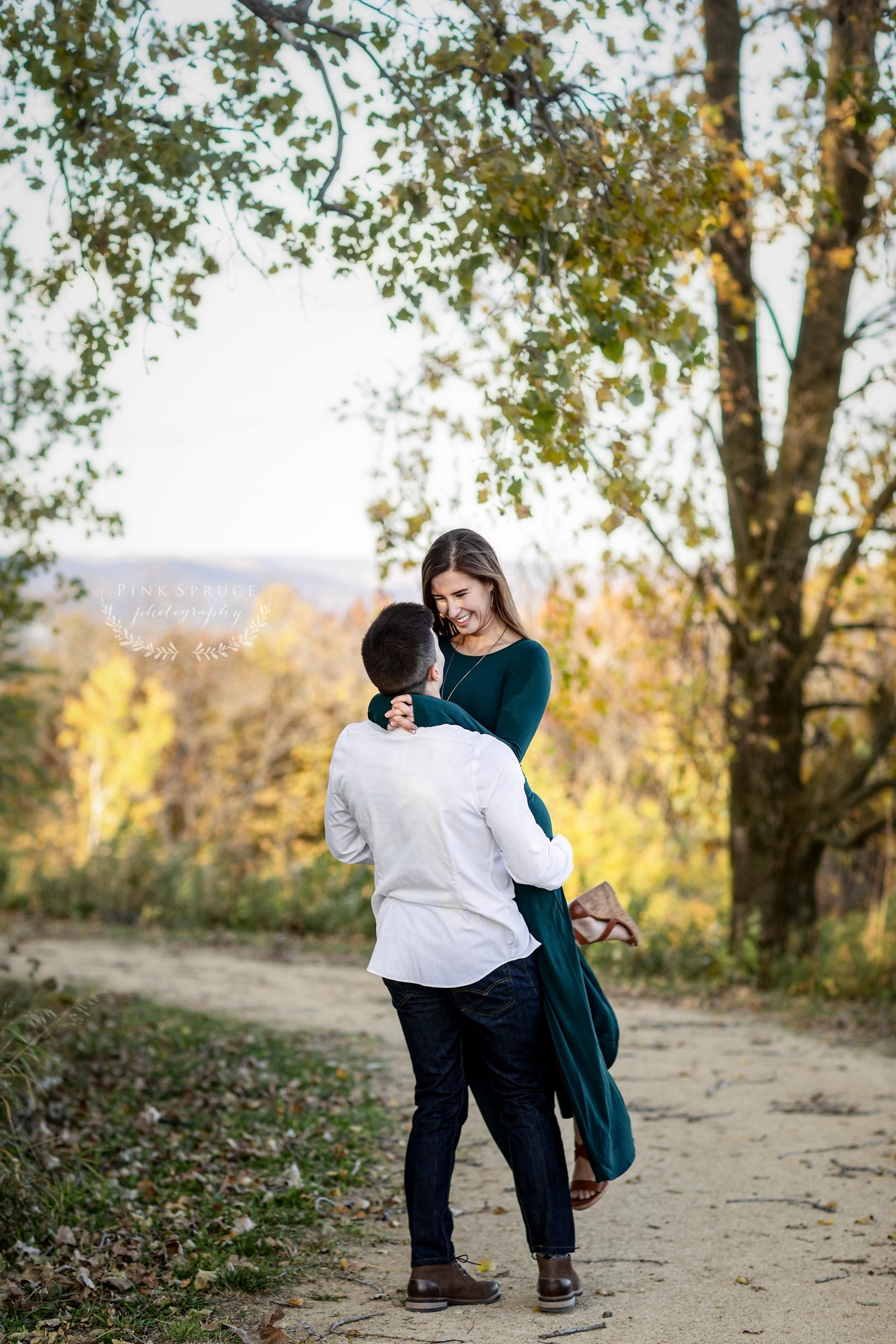 Fall Engagement Session at Upper Hixon Forest · Emily + Austin | La Crosse Wi Engagement Session
