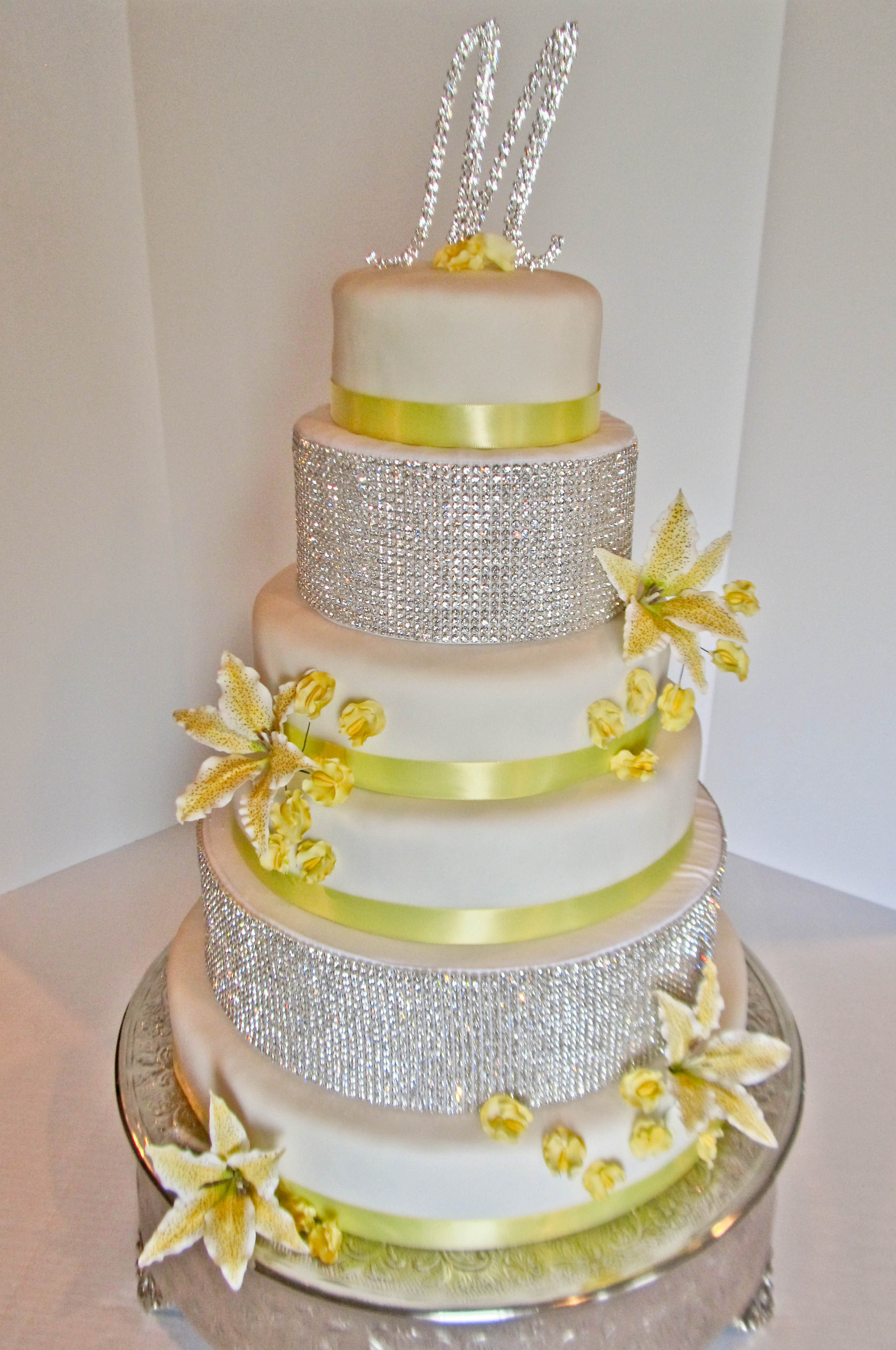 Light Yellow  White and Bling Wedding Cake   Pink Teaspoon Light Yellow  White and Bling Wedding Cake