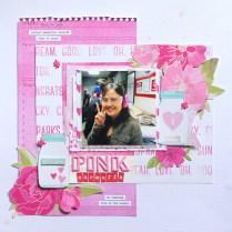 Pink earmuffs monochromatic Scrapbook layout