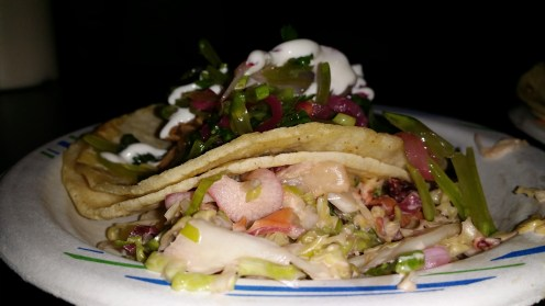 Spicy Clam and Pork Confit Tacos with snow peas, cilantro and pickled red onions