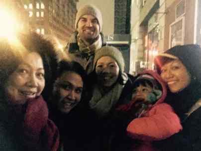 wintery family selfie