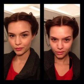 """josephine_skriver """"My after and before picture for the make-up at Carolina Herrera"""""""
