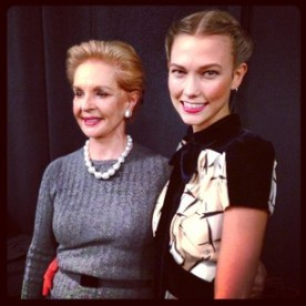 """karliekloss """"Congratulations @houseofherrera on a beautiful collection, it was such an honor to open the show! #NYFW #CarolinaHerrera #backstage"""""""