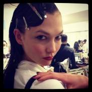 """karliekloss """"Hair and nails done, now off to makeup #NYFW #ODLR #MBFW"""""""