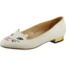 Charlotte Olympia Kitty Cat-Embroidered Slipper in White
