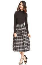 JOA Plaid Midi Skirt in Black