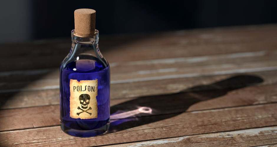 "bottled labeled ""poison"""