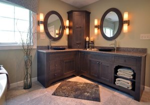 Full view of double sink cabinets