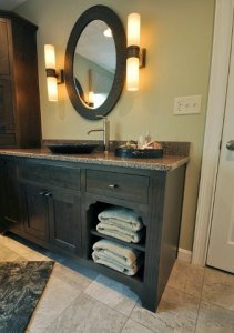 Exposed shelves for towel storage