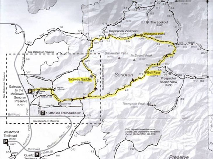 McDowell Mountains Preserve Map