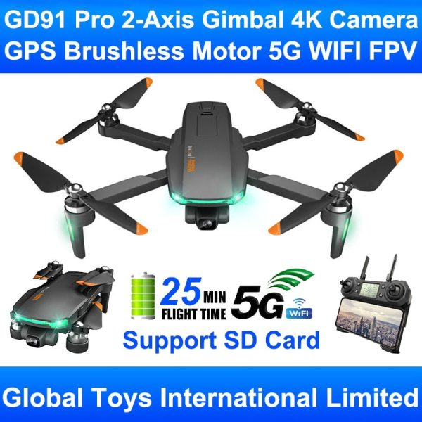 GD91 Pro 2 Axis Gimbal Professional 4K Camera Brushless Motor GPS 5G WIFI FPV RC Drone