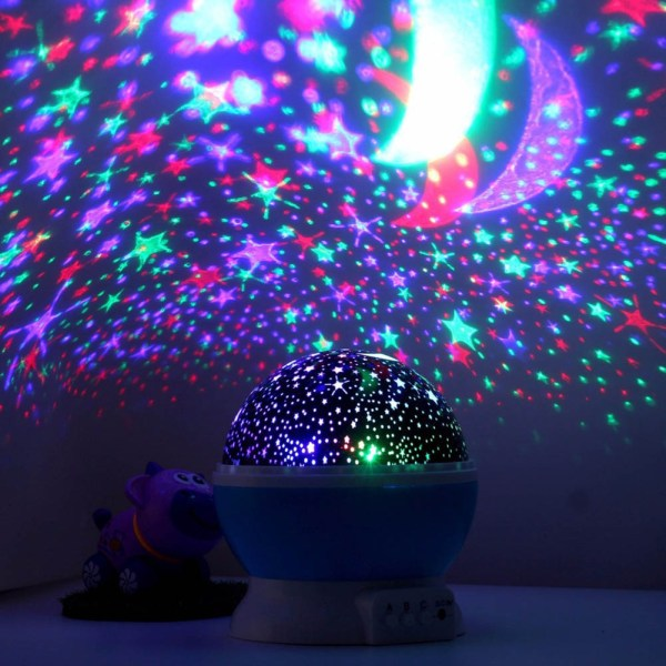 Romantic Dream Rotating Projection Lamp USB LED Night Light Sky Moon Star Master Projector for Kids 5