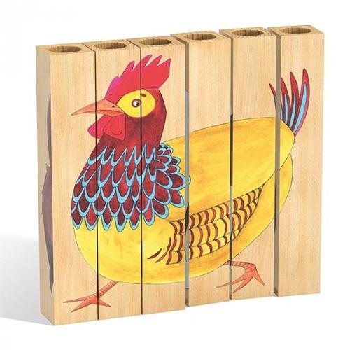 Lodra Zhvilluese per Femije Qrc Pazell me 6 shufra druri 4 dizajn 18x18x3cm Kafshet e Fermes 2 6 Vjec OTSA0011 2