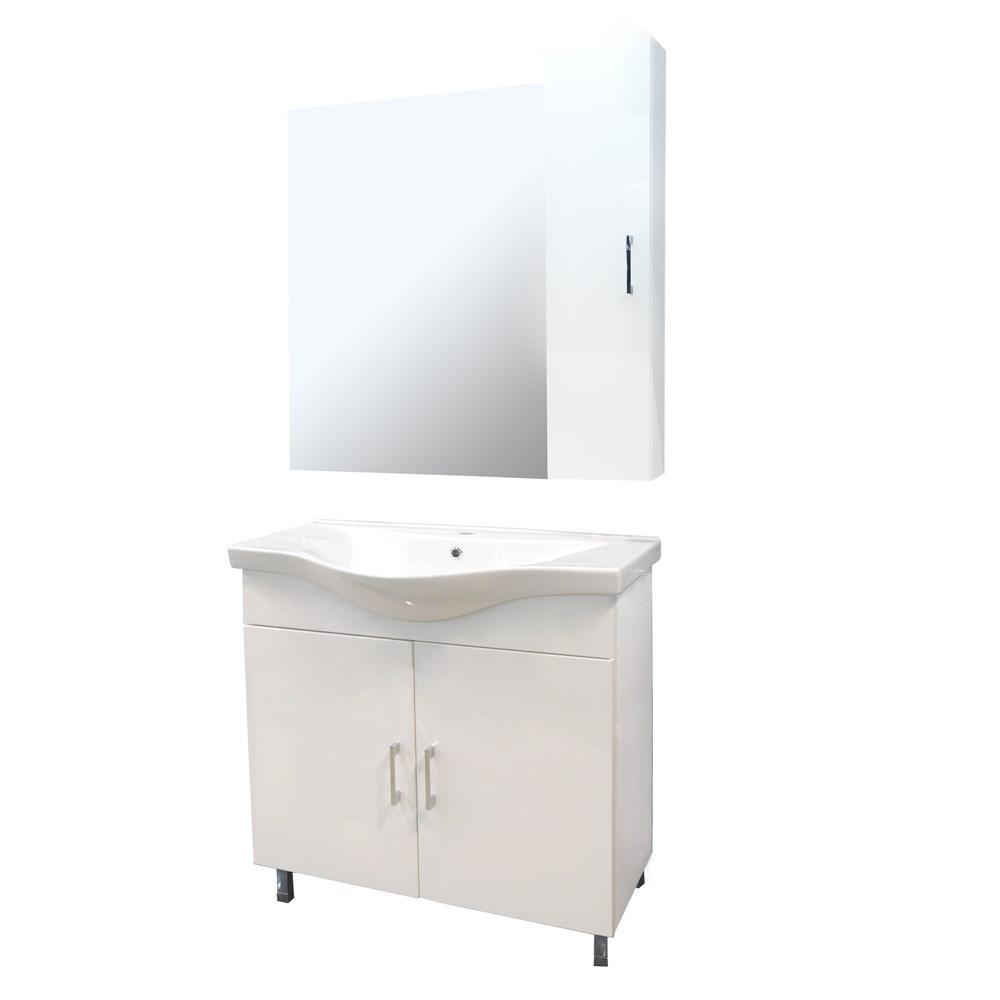 Mobilje tualeti ALBA 80 DROP melamine e bardhe 224357 2