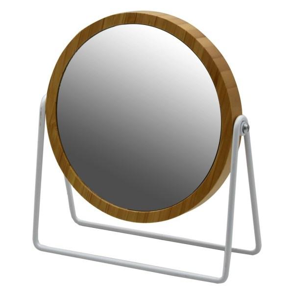 Pasqyre mbi mobilje xham dhe MDF bezhe dhe e bardhe Dia.17xH21 cm 224417 1