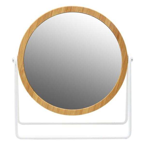 Pasqyre mbi mobilje xham dhe MDF bezhe dhe e bardhe Dia.17xH21 cm 224417 2