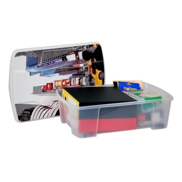 storage box new york plastic clear 56x39xh18 cm 1