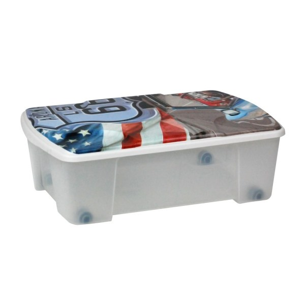 storage box route 66 polypropylene clear 565x39xh18 cm