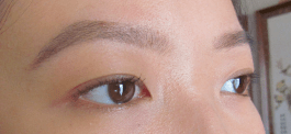 Left eye with mascara, right eye bare