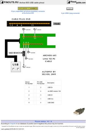 Archos 605 USB cable pinout diagram @ pinoutsru