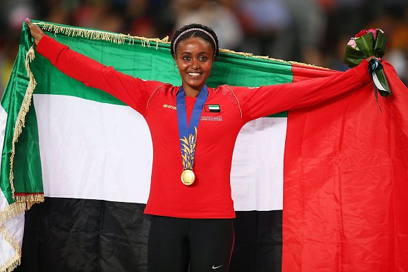 Ethiopian-born Alia Saeed Mohammed won gold for the United Arab Emirates in the women's 10,000m on the opening night of athletics ©AFP/Getty Images