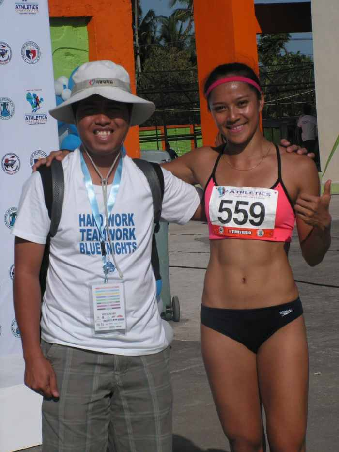 Prof. Airnel T. Abarra with Khay Santos during the 2015 National Open.
