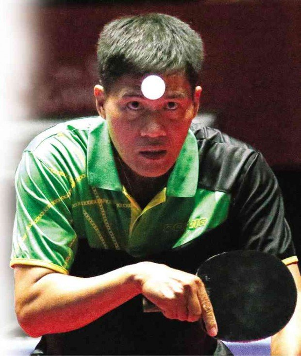 Andrew Gonzales in full concentration in the Table Tennis single finals at 2015 SEA Games.