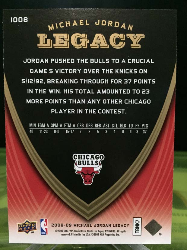 Michael Jordan Legacy Card - 2009/10 Upper Deck Basketball (Card# 1008)