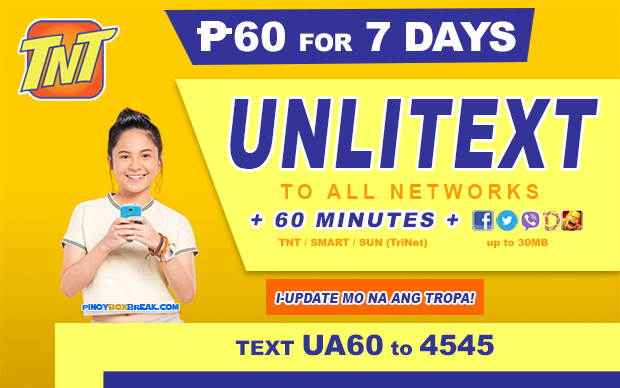 UA60 TNT Promo 30 Pesos: Unlimited Texts To All Networks For Seven Days