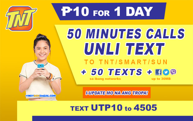 UTP10 TNT Promo 10 Pesos: 1 Day Unli Text With 50 Minutes Calls