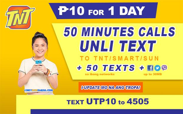 UTP10 TNT Promo 10 Pesos: 1 Day Unli Text With 50 Minutes Calls