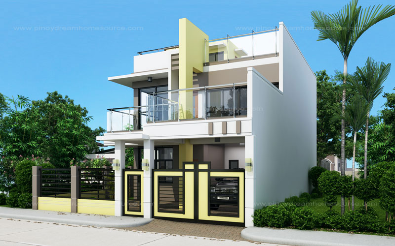 Single Attached Two Story House Design With