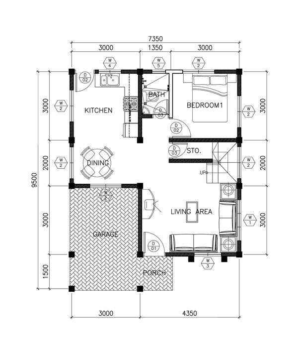 Two Story Contemporary House Plan Ground-floor