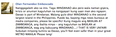 "Davao based blogger on ""War in Mindanao"""