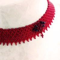 Gorgeous Red Heart bead stitched choker necklace