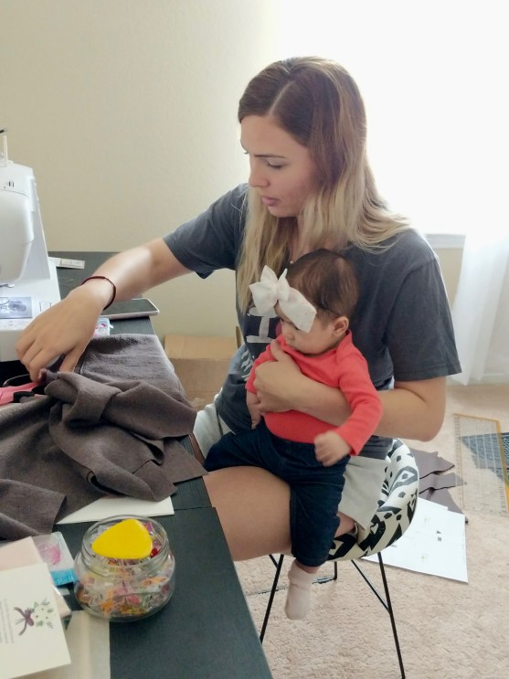 sewing with my baby