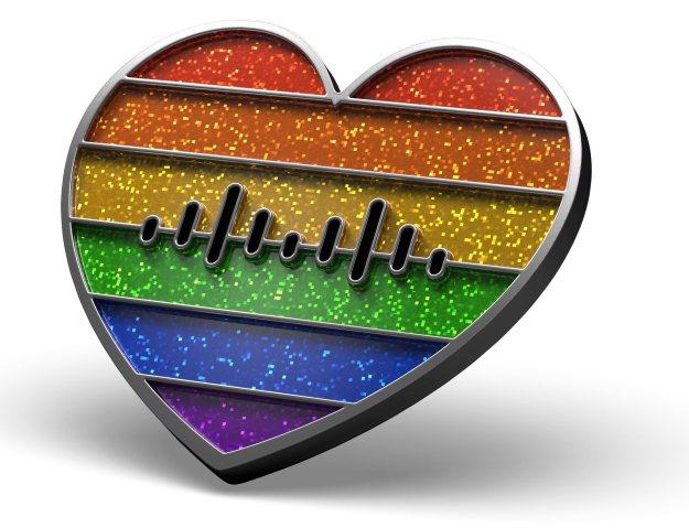 Cisco Rainbow heart pins glitter