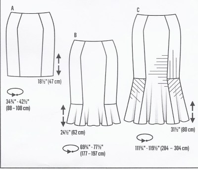 Burda skirt technical drawing