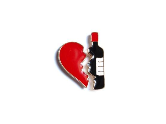 pin's duo coeur vin