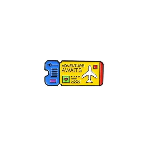 pin's billet d'avion jaune