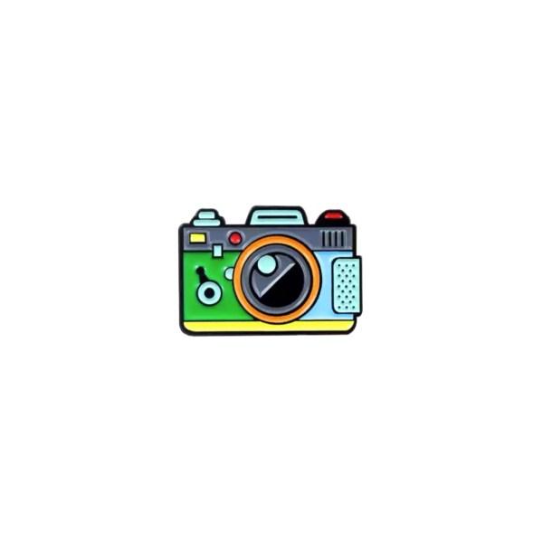 pin's appareil photo vert
